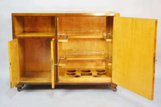 GREAT FIGURED MAPLE FRENCH ART DECO BAR CABINET / CART, CA. 1930