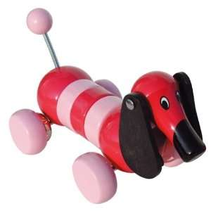 Wobble Daschund Wooden Pull Toy Magenta Toys & Games