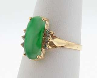 Estate Green Jade Diamonds Solid 14k Yellow Gold Ring