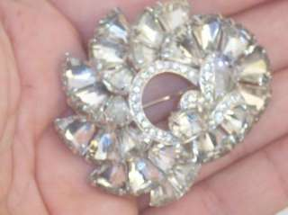 Sgnd & Numbered Eisenberg Kite Clear Rhinestone Brooch