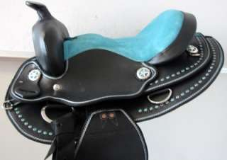 10 BLUE BLING youth Western Trail Barrel kid PONY Saddle bridle tack