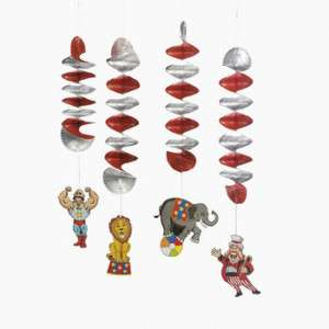 CARNIVAL CIRCUS PARTY DANGLING SWIRL DECORATIONS (12PC)
