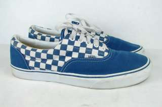 OLD SCHOOL VANS BLUE WHITE CHECKERED CHECKERBOARD SHOES SIZE 13