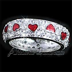 PAVE BRILLIANT CZ with RED ENAMEL HEARTS BAND RING Size 8