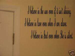 believe in God Christian Quote vinyl wall art Decal