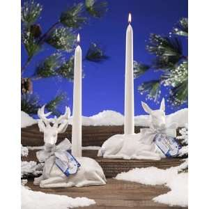 Pack of 4 Winter Wonderland White Reindeer Christmas Taper Candle