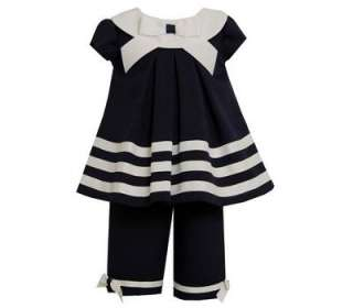 Bonnie Jean Infant Girls Spring Summer Navy / White Nautical Outfit