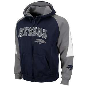 Nevada Wolf Pack Navy Blue Gray Playmaker Full Zip Hoodie Sweatshirt
