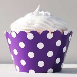 Dress My Cupcake Orchid Purple Polka Dots Cupcake Wrappers