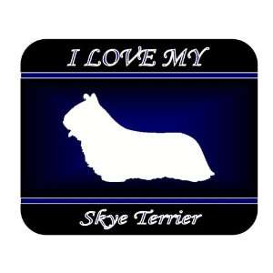 I Love My Skye Terrier Dog Mouse Pad   Blue Design