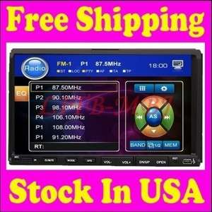 New 7LCD Touch Screen Double Din Indash Car DVD Player Radio USB SD