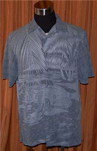 Tori Richard GRAY SILK CASUAL HAWAIIAN SHIRT MENS LARGE