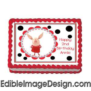 OLIVIA PIG #1 Edible Cake Image Party Decoration Topper
