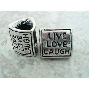 Beautiful Antique Silver Live Love Laugh Triangle ShapeSpacer Bead
