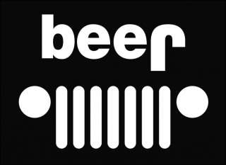 Jeep Funny beer Die Cut Vinyl Decal Sticker 6.75