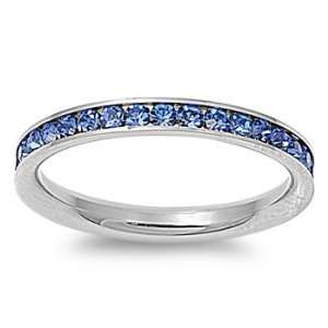 Stainless Steel Eternity Blue Cz Wedding Band Ring 3mm (Size 3,4,5,6,7