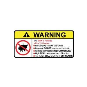 BMW V8 No Bull, Warning decal, sticker