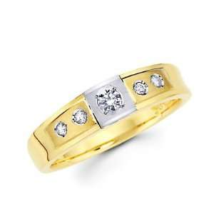 Size  7   .18ct Diamond 14k Two Tone Gold Wedding Matching Ring