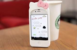 White Hello Kitty Double Bow Silicone Soft W/Ear Case Cover For iPhone