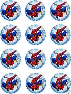 SPIDERMAN Edible CUPCAKE Image Icing Toppers Frosting
