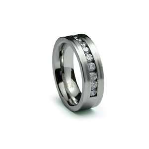 Stainless Steel Ring Satin High Polish with Multi CZ