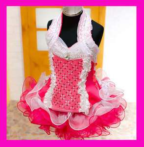 New Girls Sparkling Glitz Pageant Dress Pink 1~10T