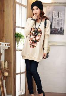 New Style Women fashion skull printing Bat T shirt long sleeved loose