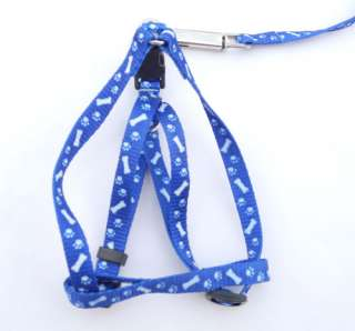 Small Pet Dog Nylon Print Bone Lead Leash & Harness 3 Colors