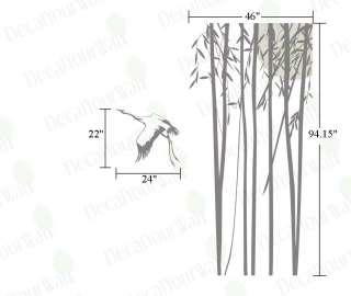 Large Bamboo Tree Bird Wall Decor Vinyl Decal Stickers