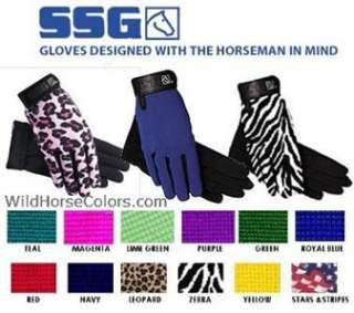 Childs Childrens SSG Riding Gloves Zebra Hot Pink Lime Green Yellow