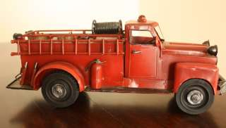 Vintage Hand made Tin model car 1950 Ford Fire Truck