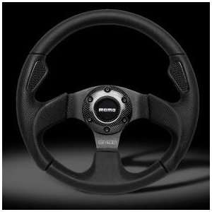 Momo Jet Black Leather Leather Steering Wheel Automotive