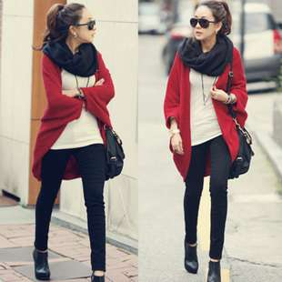 Red women knit cardigan casual top sweaters batwing sc2