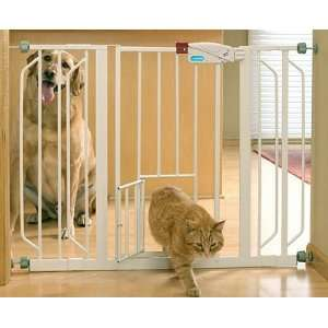 Extra Wide Pet Gate with Bonus Small Pet Door Pet