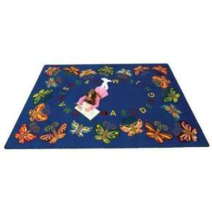 Joy Carpets Butterfly Delight Kids Area Rug, Blue Rugs, 7