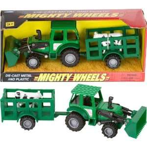 Mighty Wheels Die Cast 8 Farm Tractor Trailer Toys