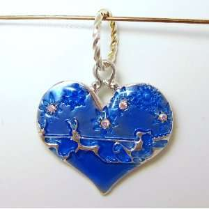 Blue Silver Plated Flying Santa Heart with AB Swarovski