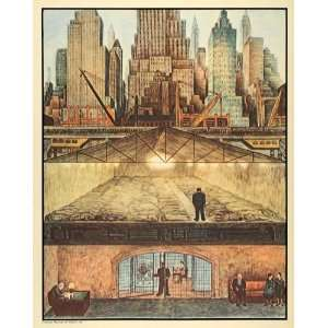1932 Print Diego Rivera New York City Skyline Fresco Art