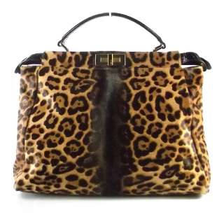 FENDI Calf Hair Leopard Print PEEKABOO Tote Bag Purse