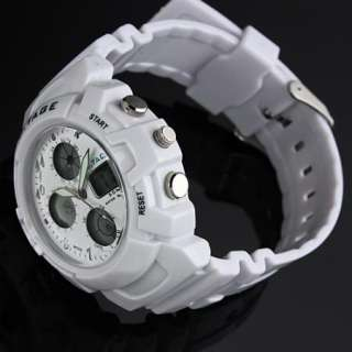 outdoor men analog digital watch quartz rubber white multi function