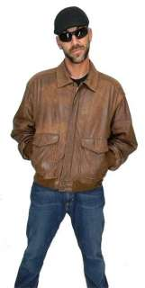VINTAGE Worn ADVENTURE BOUND Brown A 2 Leather FLIGHT Bomber JACKET