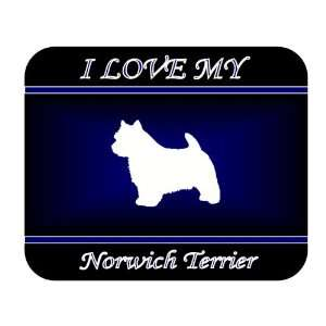 I Love My Norwich Terrier Dog Mouse Pad   Blue Design
