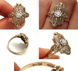 RARE ANTIQUE ART DECO DESIGNER EUROPEAN DIAMOND SOLID GOLD WEDDING