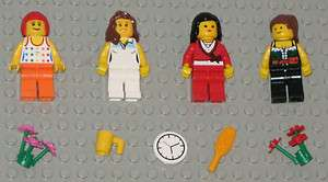 Lego MINIFIGURES 4 Women Girls Lady People Flowers Female Town
