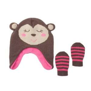 Carters Baby Girls Smiling Bear Warm and Comfy Hat and Mittens Set