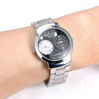 Dual Two Time Display Dial Mens Quartz Wrist Watch New