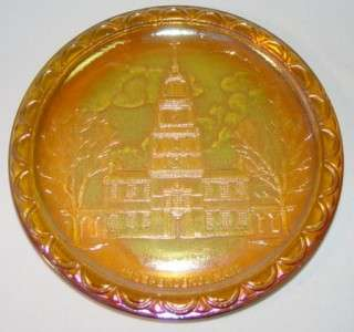 INDIANA Gold CARNIVAL Glass Independence Hall Plate NIB