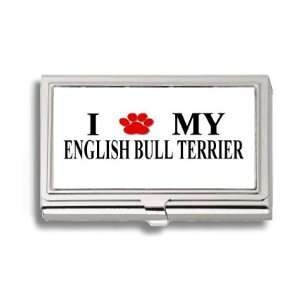 English Bull Terrier Paw Love My Dog Business Card Holder