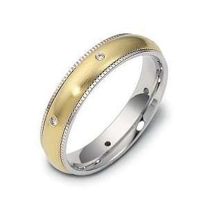 Milgrain 18 Karat Two Tone Gold SPINNING Diamond Band Ring   6.25