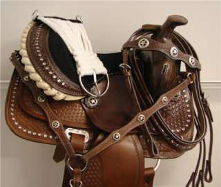15BROWN medium Oil bling crystal Western Trail Barrel Racer Saddle